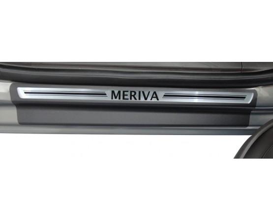 Soleira Premium Aço Escovado 4P Meriva (NP Adesivos e Resinagem) por alfabetoauto.com.br