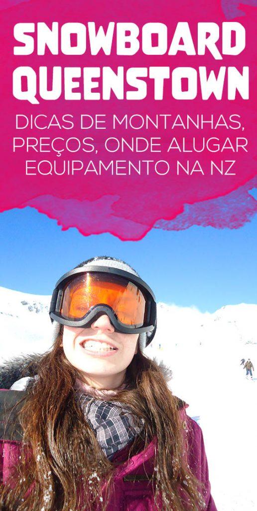 Snowboard em Queenstown, dicas de economia, alugar equipamento, montanha