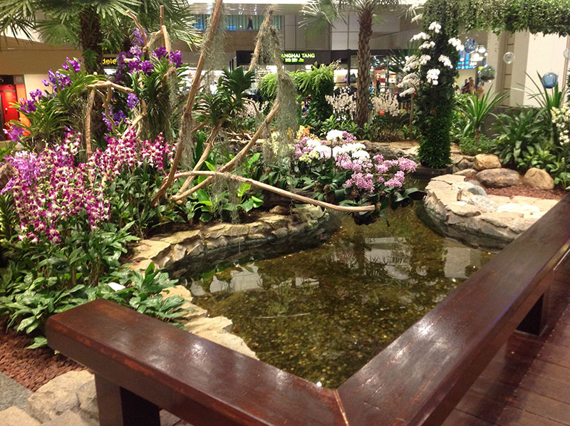 aeroporto cingapura changi interior flores