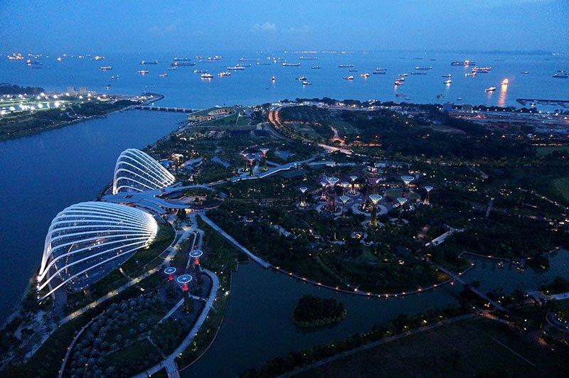 vista marina bay sands a noite singapura