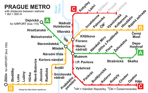 mapa metro praga prague