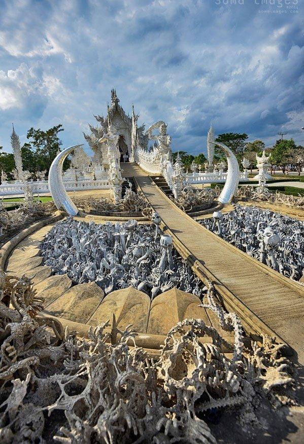 templo branco Tailândia vista wat Rong Khun