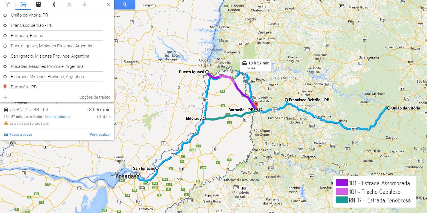 estradas argentinas mapa mochilinho argentina puerto iguazu posadas san ignacio
