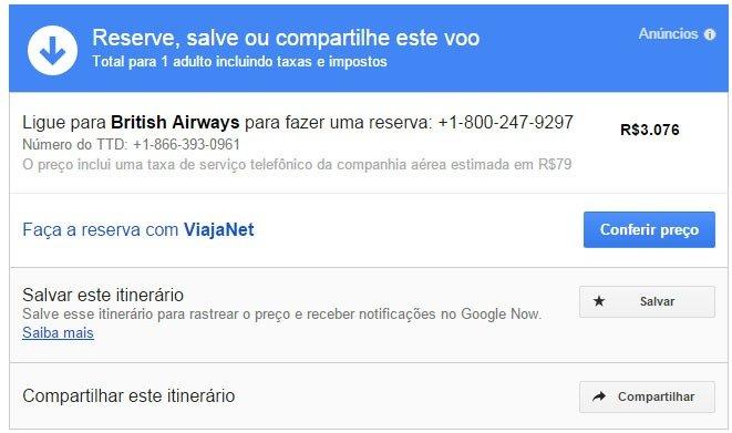 Encontre passagens baratas com Google Flight compartilhe itinerario