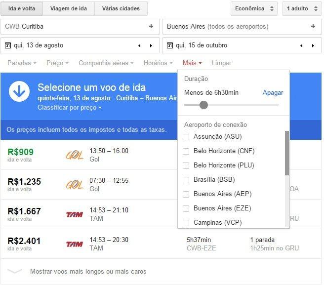 Encontre passagens baratas com Google Flight filtros