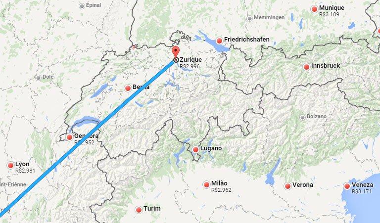 Encontre passagens baratas com Google Flight mapa