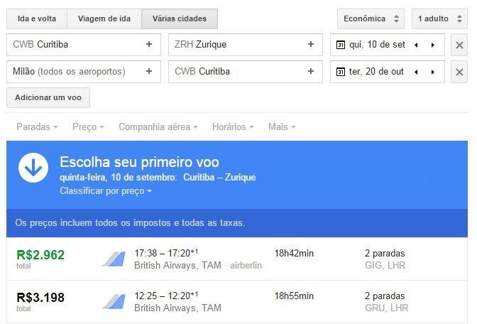 Encontre passagens baratas com Google Flight voos multiplos