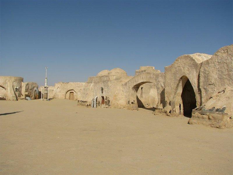 Mochilão Galático localizações dos sets de Star Wars Mos Espa, Tatooine Planet,