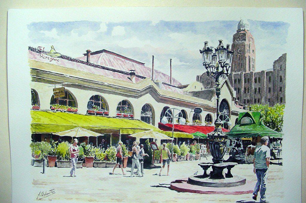 Mercado_del_Puerto saralegui aquarela uruguai