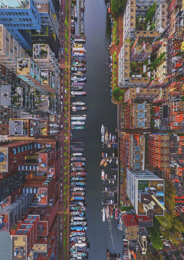 lugares incríveis Westerdok Disctrict-Amsterdam-fotografia-aerea