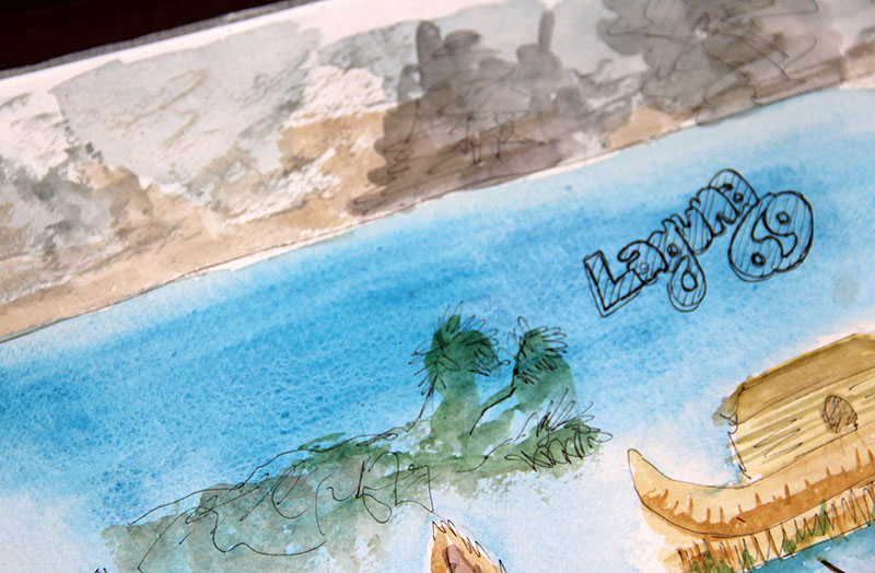 cartão-postal-peru-aquarela-laguna