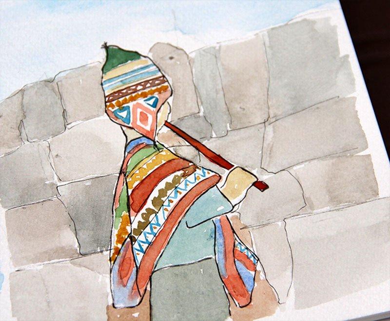 cartão-postal-peru-aquarela-menino