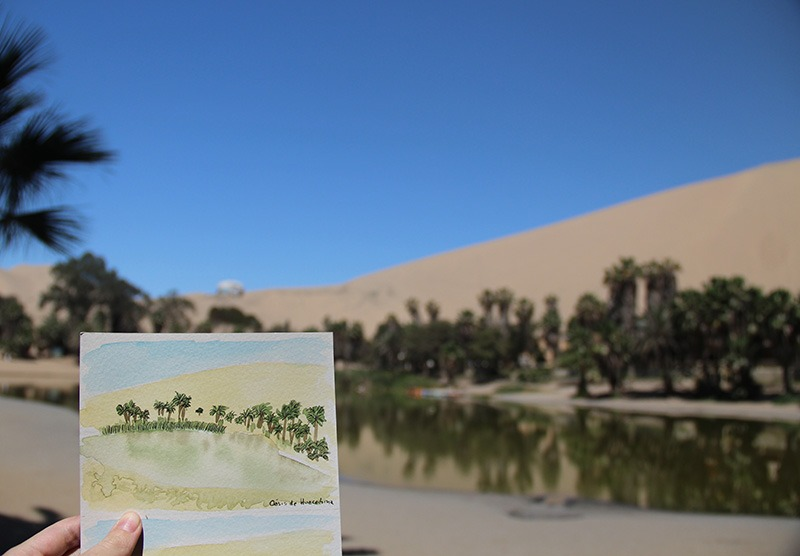 Aquarela no Peru huacachina