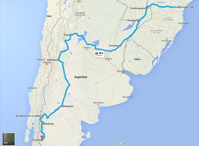 Curitiba à Patagônia mapa