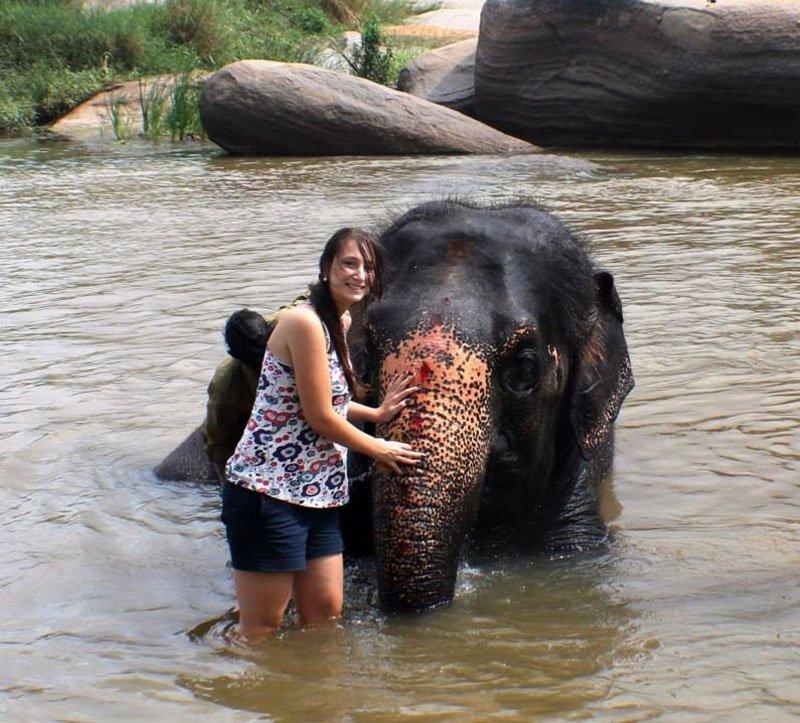elefante-hampi-sagrado-banho Intercâmbio na Índia