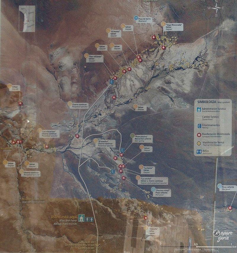 mapa geyser del tatio manifestacoes termais atacama