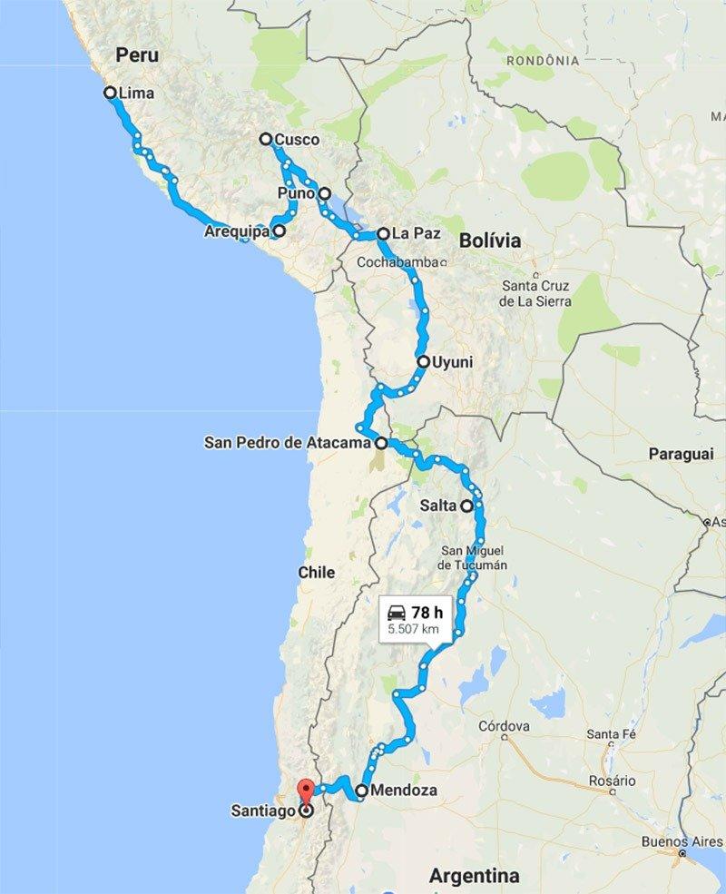 roteiro mochilão peru bolivia chile e argentina mapa