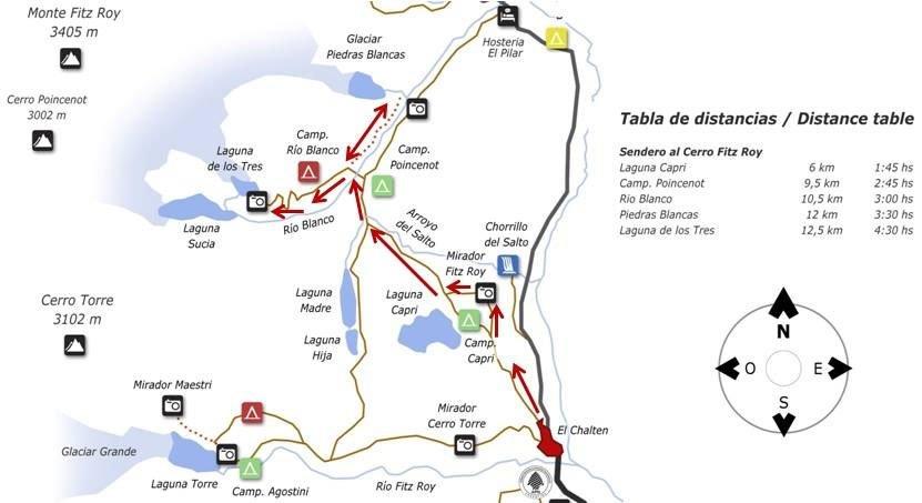 mapa trilhas el chalten fitz roy