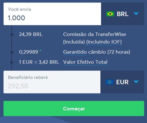 transferwise melhor forma de transferir dinheiro para o exterior