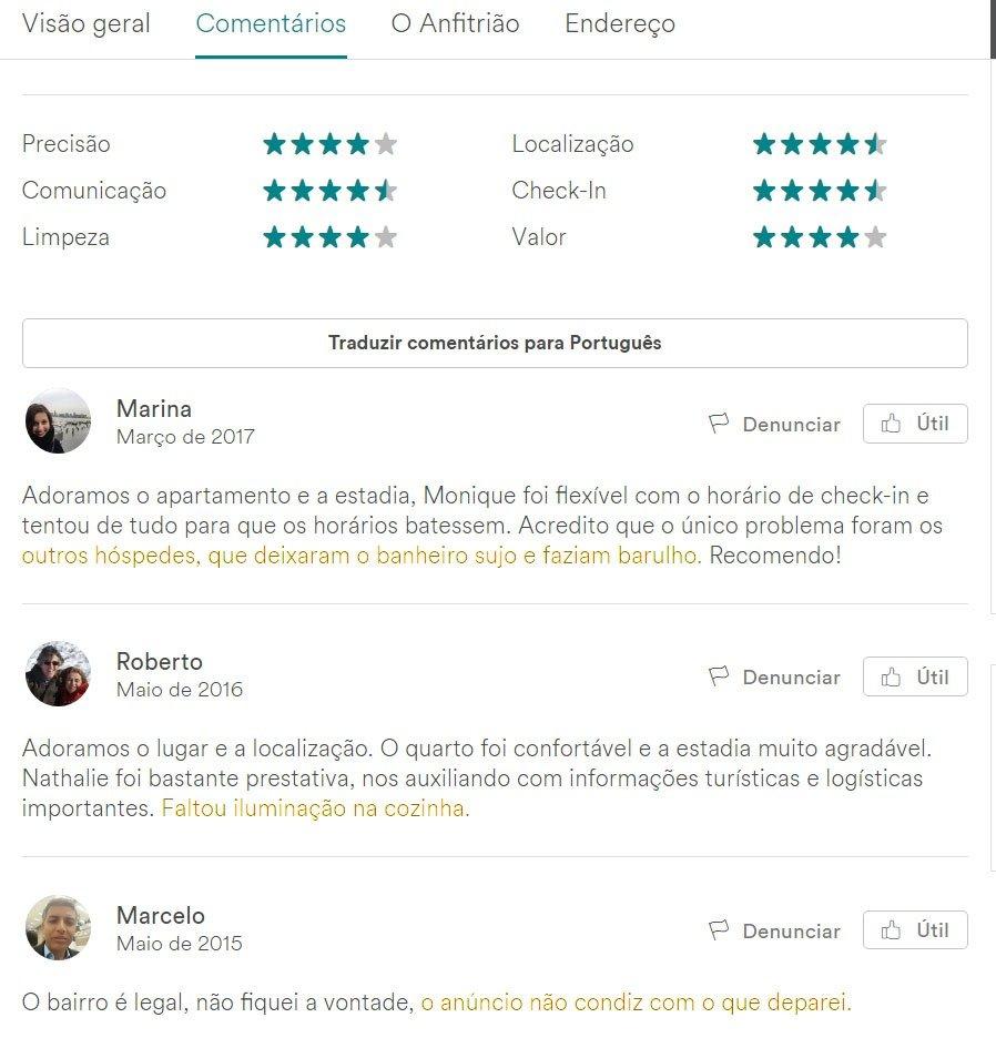 comentários no airbnb