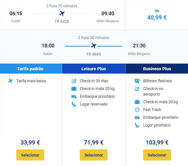 ryanair tarifas voo barato europa