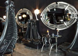 cadeiras preto esqueleto bar tematico alien chur