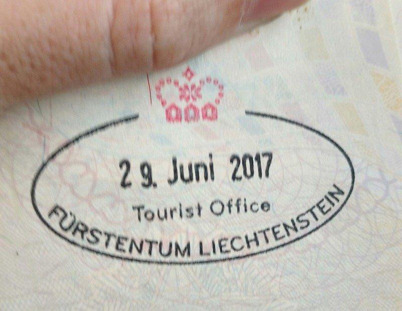 carimbo de liechtenstein passaporte