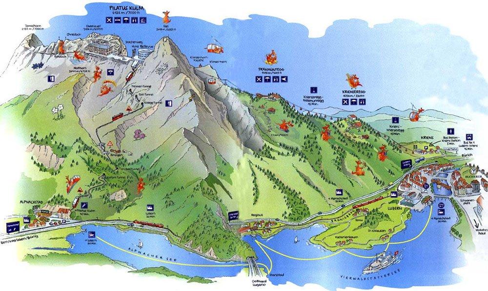 mapa monte pilatus atracoes na suiça