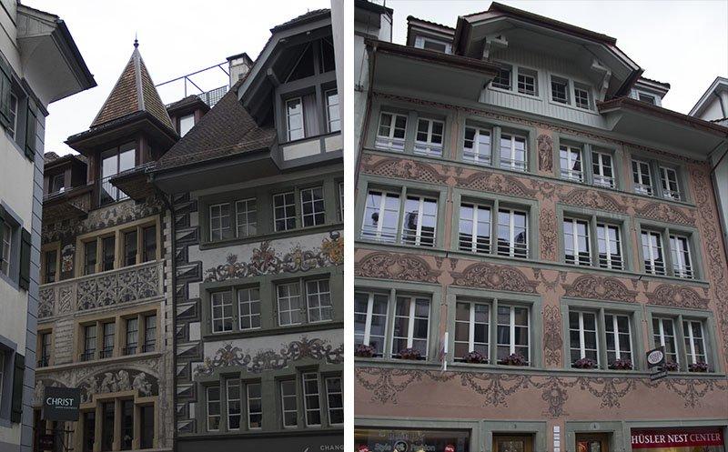 predios antigos medievais decorados lucerna suica