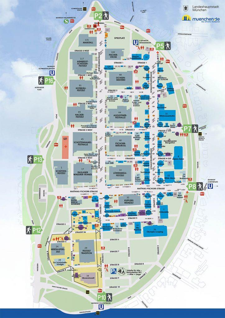 mapa da oktoberfest em munique