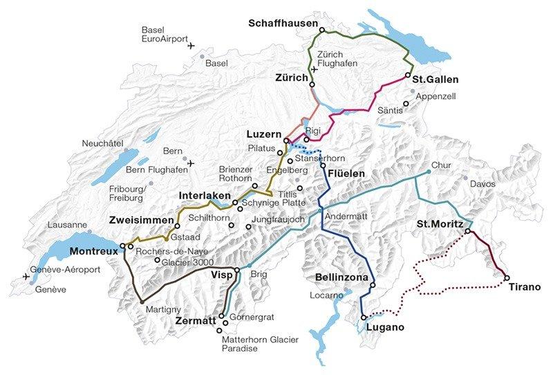 mapa trens panoramicos na suiça