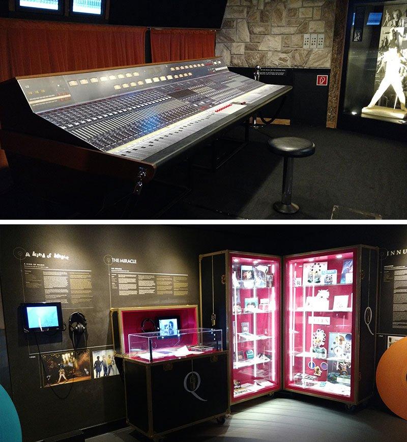 Mesa de som interativa e itens da exposição museu do queen