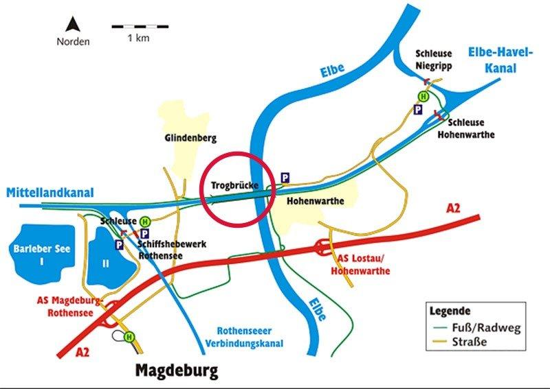 mapa ponte de agua barco magdeburg