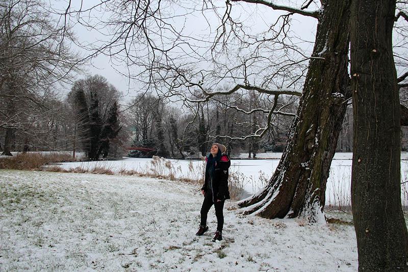 parque com neve alemanha lago congelado berlim