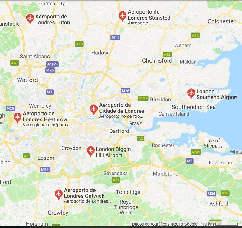mapa aeroporto de londres distancia