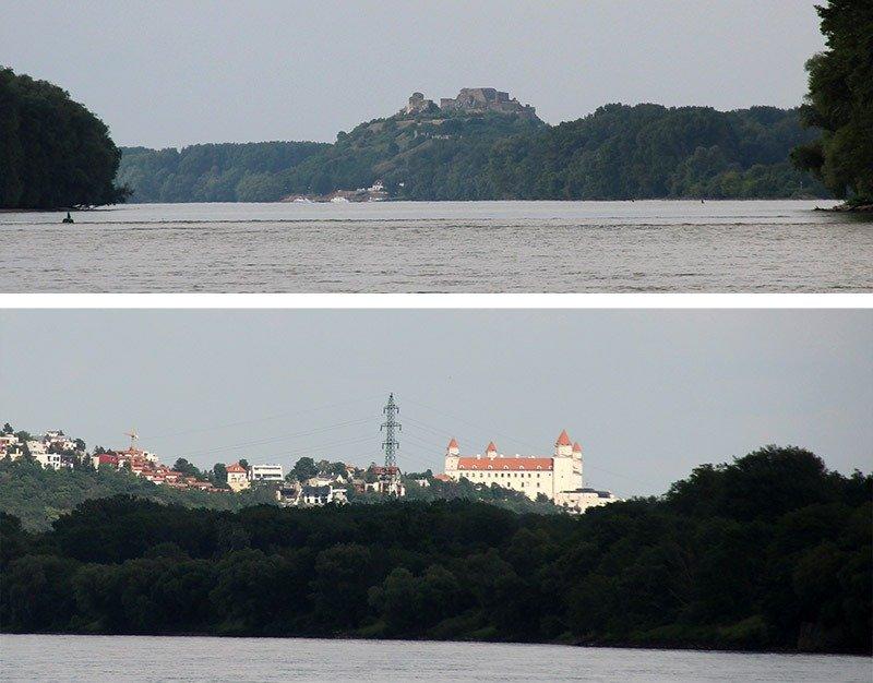 castelos de bratislava visto do rio do barco