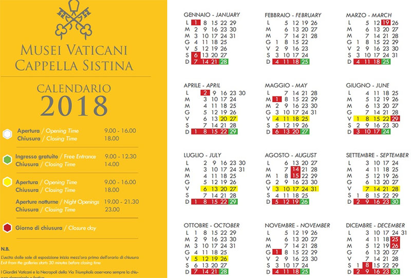 calendario entrada museu do vaticano