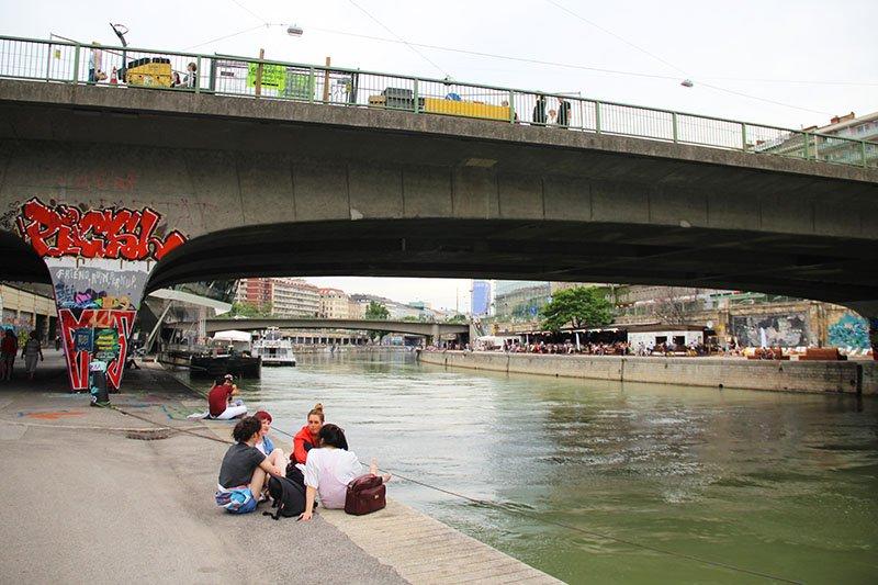 caminhar canal rio danubio viena