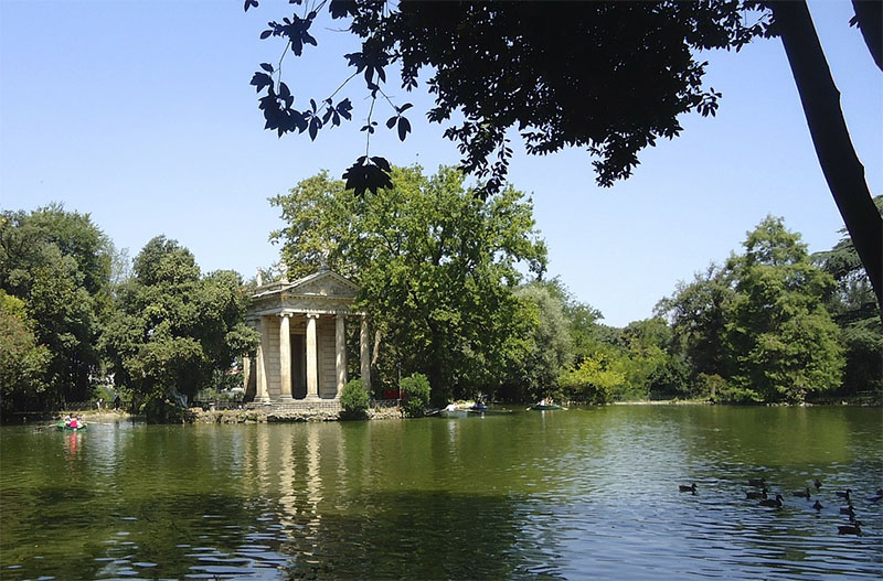 parques em roma villa borghese lago