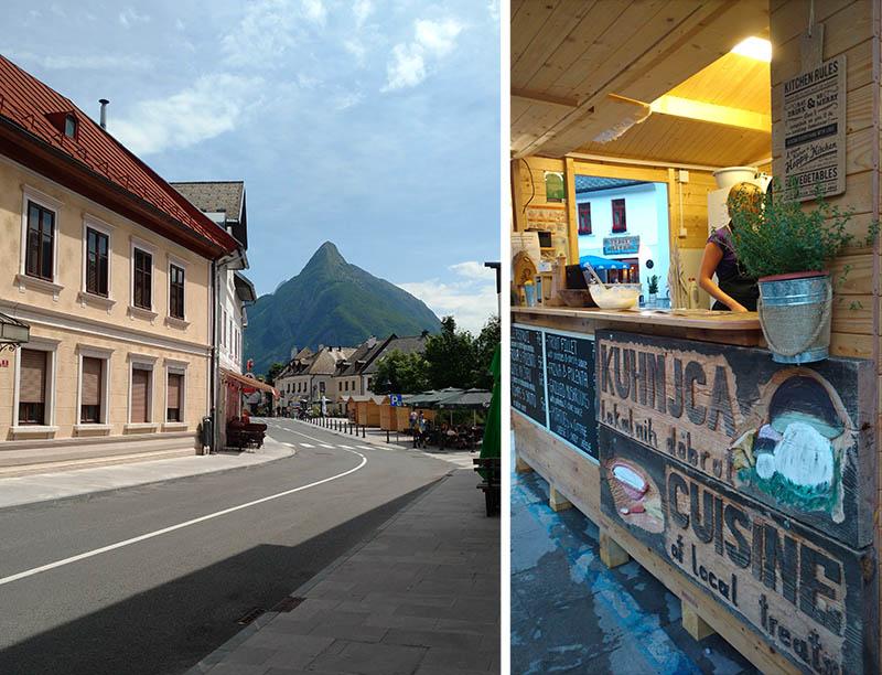montanha Svinjak em bovec e barraquinha de comida