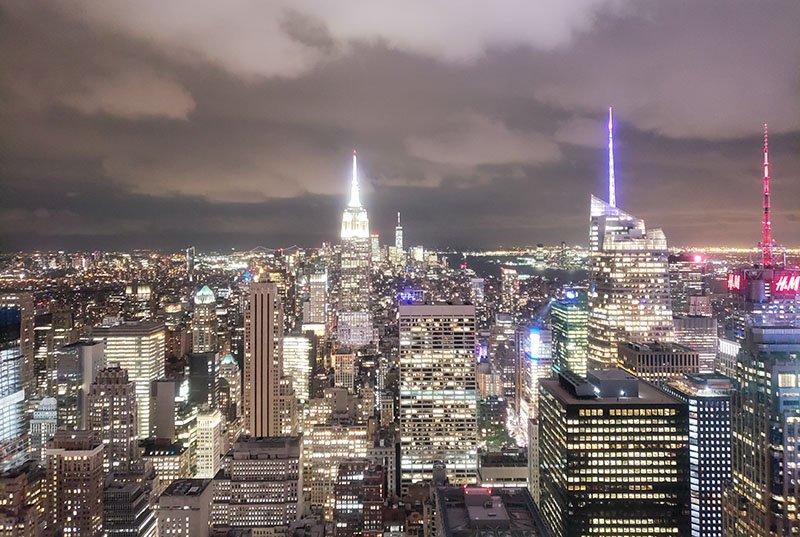 nova york vista a noite top of the rock