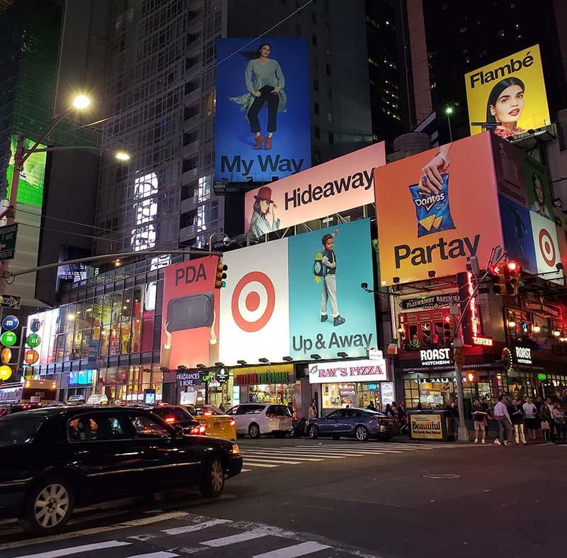 paineis propaganda times square em nova york