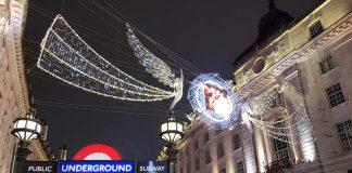 natal em londres rua decorada com luzes picadilly circus