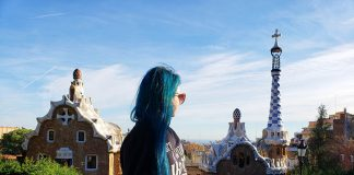 O famoso lugar das fotos no Parque Güell
