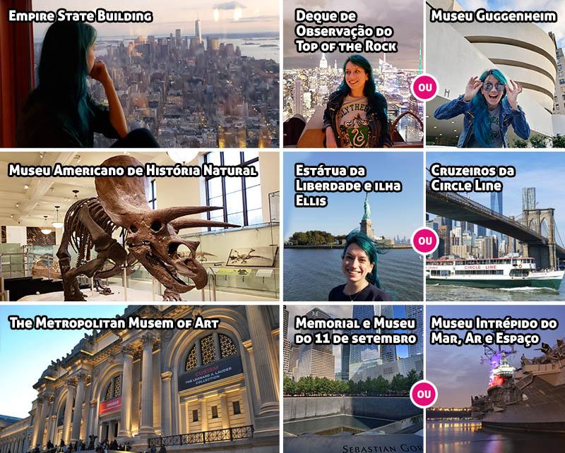 Quadro com as atrações inclusas no New York CityPASS