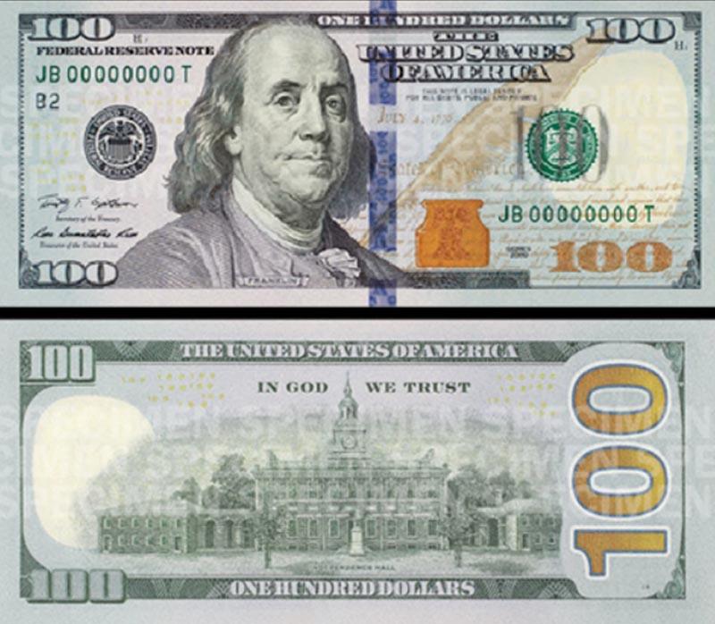 Notas de 100 dólares atuais
