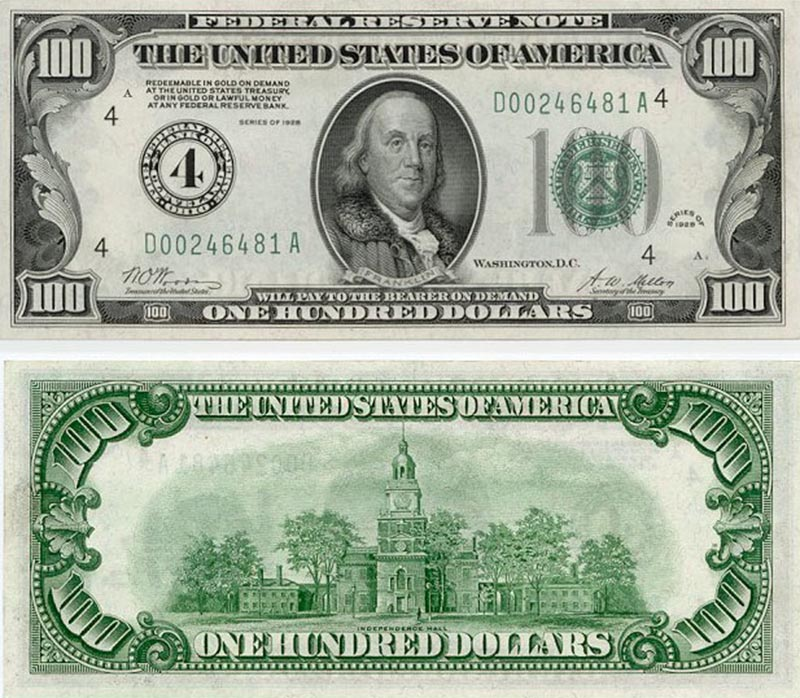 notas antigas de dólar Cédulas de 100 dólares lançadas década de 50