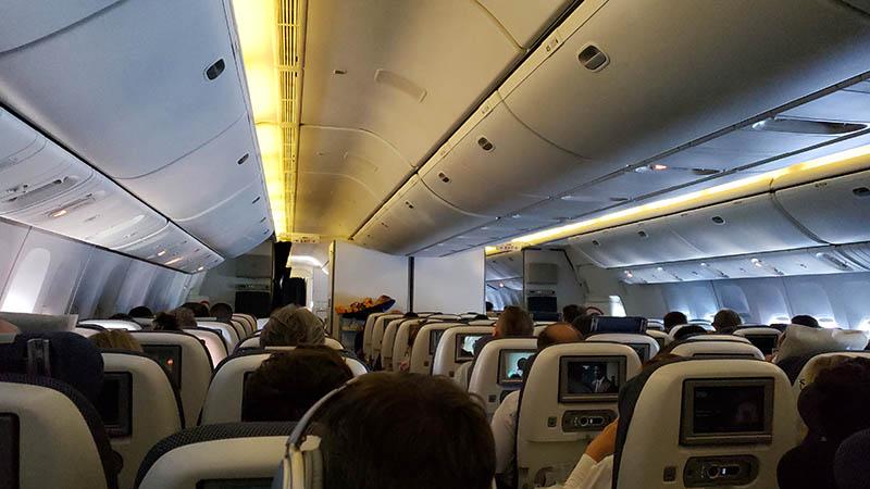Interior da aeronave da British Airways