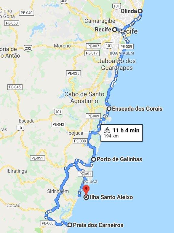 Mapa Roteiro Prais em Pernambuco