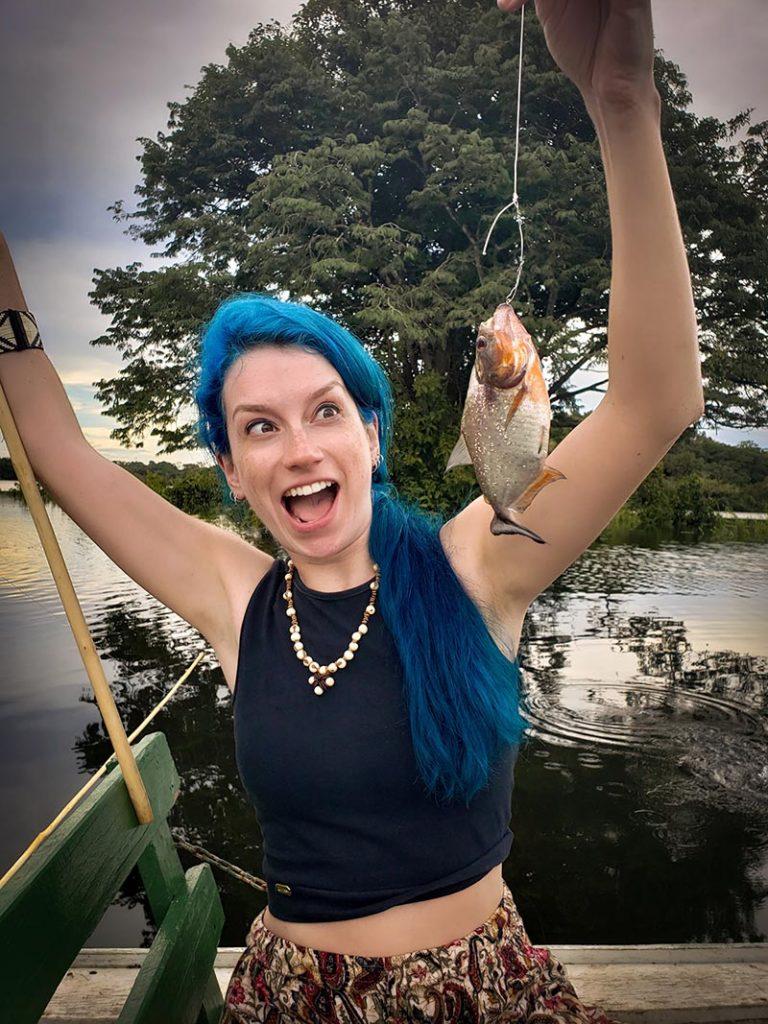 Pesca de piranha foi um dos passeios mais legais da viagem para a Amazônia